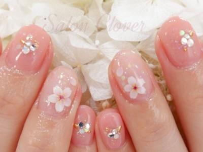 ワンカラー×春の桜ネイル☆自爪に優しいカルジェル